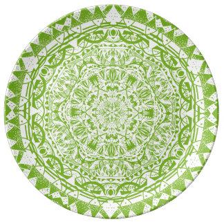 Prato De Porcelana Teste padrão verde da mandala