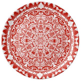 Prato De Porcelana Teste padrão vermelho da mandala