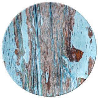 Prato De Porcelana Textura de madeira