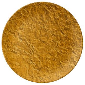 Prato De Porcelana Textura dourada