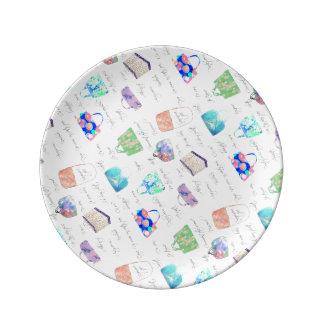 Prato De Porcelana Tipografia floral Pastel das ilustrações da