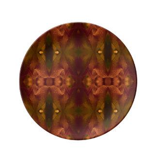 Prato De Porcelana Tulipa verde de cobre do abstrato do amarelo da
