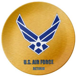 Prato De Porcelana U.S. Placa aposentada força aérea da porcelana