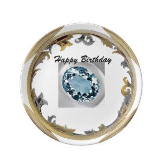 Prato De Porcelana Um aniversário de água-marinha