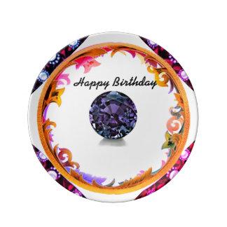 Prato De Porcelana Um aniversário do Alexandrite