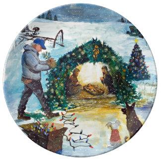 Prato De Porcelana Um Natal do país na fazenda