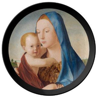 Prato De Porcelana Um retrato de Mary e de bebê Jesus