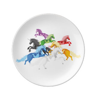 Prato De Porcelana Unicórnios selvagens coloridos da ilustração