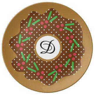 Prato De Porcelana Vermelho da rosquinha do Natal do azevinho + O