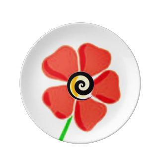 Prato De Porcelana Vermelho espiral da flor