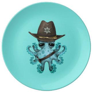 Prato De Porcelana Xerife bonito do polvo do bebê azul
