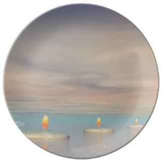 Prato De Porcelana z+Etapas da vela - 3D rendem