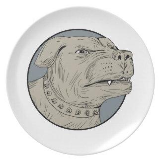 Prato Desenho agressivo da cabeça de cão da guarda de