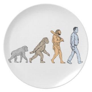 Prato Desenho de passeio da evolução humana