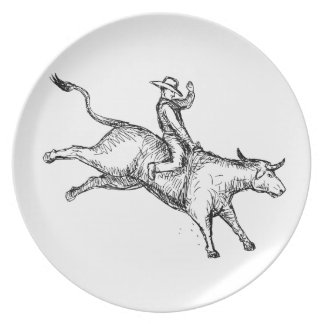 Prato Desenho do vaqueiro do rodeio da equitação de Bull