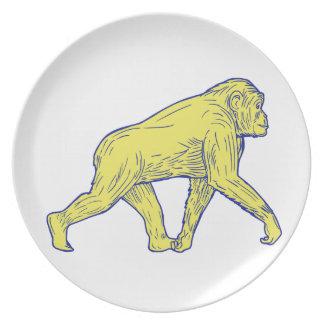 Prato Desenho lateral de passeio do chimpanzé