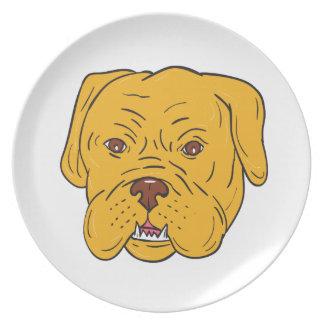 Prato Desenhos animados da cabeça de cão do Bordéus