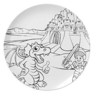 Prato Desenhos animados do castelo do dragão e do