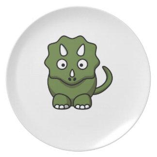 Prato desenhos animados do dinossauro verde