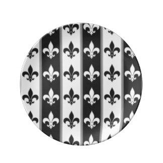 Prato Design branco preto do impressão do teste padrão