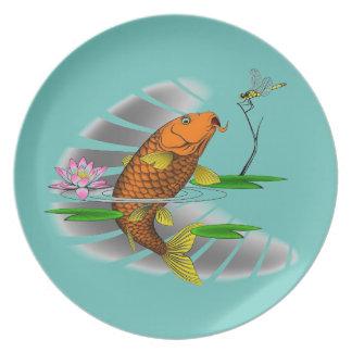 Prato Design da lagoa de peixes de Koi do japonês