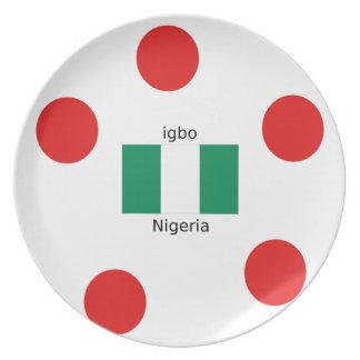 Prato Design da língua da bandeira e do Igbo de Nigéria