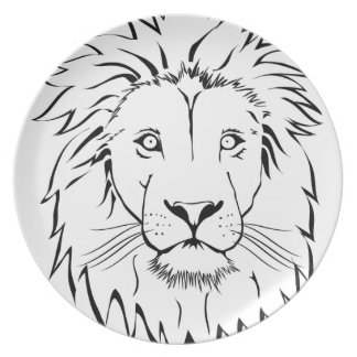 Prato design do vetor do desenho do leão