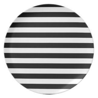 Prato Design listrado   preto e branco da listra