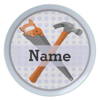 Prato Design personalizado nomeado das ferramentas para