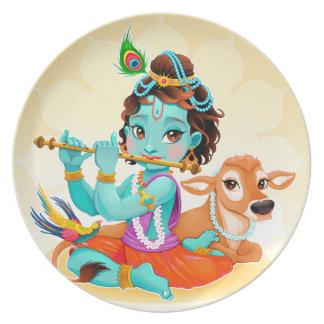 Prato Deus indiano de Krishna que joga a ilustração da