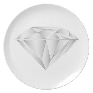 Prato Diamante branco para meu querido