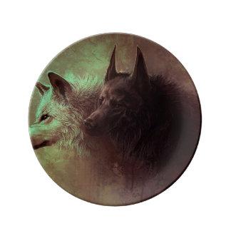 Prato dois lobos - lobo da pintura