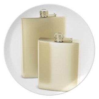 Prato Duas garrafas ancas douradas