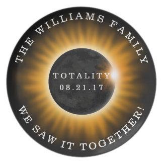 Prato Eclipse solar da totalidade da família