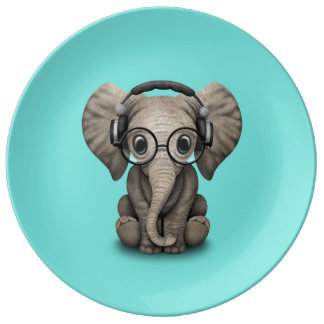 Prato Elefante bonito DJ do bebê que veste fones de