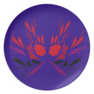 Prato Elementos do design vermelhos no ethno azul