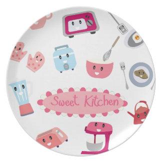 Prato Eletricidade cor-de-rosa doce da cozinha e ícone