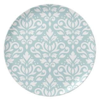 Prato Enrole o branco do Lg Ptn do damasco no azul do