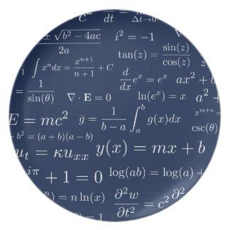 Prato Equações da placa da melamina da matemática e da