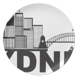 Prato Esboço do texto de Sydney Austrália Sklyine