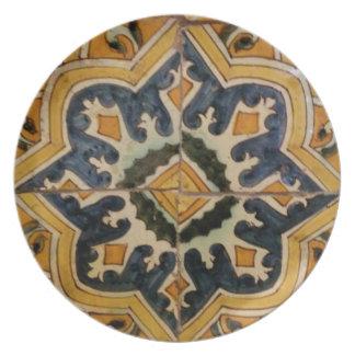 Prato Estrela turca do amarelo do azulejo do vintage do