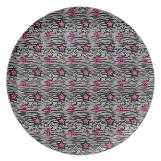 Prato Estrelas do rosa do impressão da zebra mini -