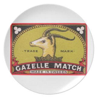Prato Etiqueta sueco da caixa de fósforos da gazela