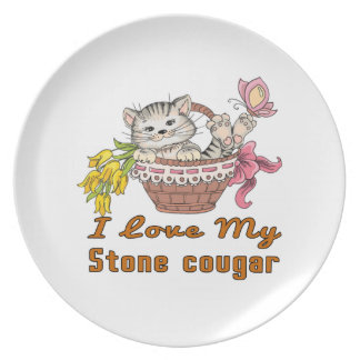 Prato Eu amo meu puma de pedra