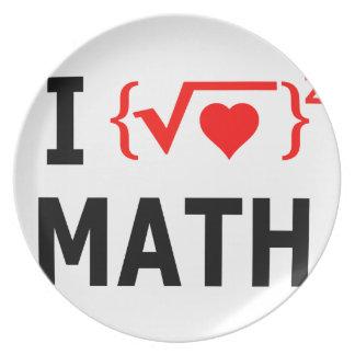 Prato Eu amo o branco da matemática
