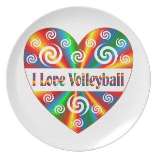 Prato Eu amo o voleibol