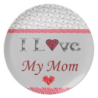"Prato ""Eu amo placa Collectible da minha mamã"""