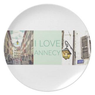 """Prato """"Eu amo placa da melamina de Annecy"""""""