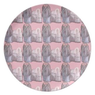 Prato Eu sou o Shih Tzu - placa cor-de-rosa