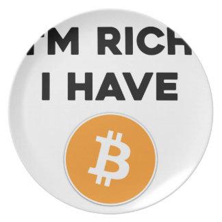 Prato Eu sou rico - eu tenho Bitcoin